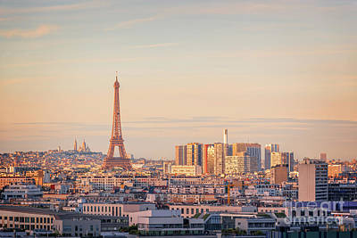 Paris Skyline Royalty-Free and Rights-Managed Images - Paris sunset by Delphimages Photo Creations