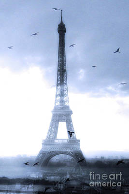 Photograph - Paris Surreal Blue Dreamy Eiffel Tower Print - Eiffel Tower Blue Home Decor by Kathy Fornal