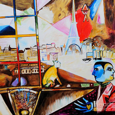 Marc Chagall Painting - Paris Through The Window  by Art by Danielle