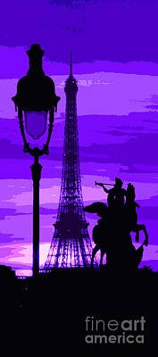 Europe Digital Art - Paris Tour Eiffel Violet by Yuriy  Shevchuk