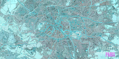 Lithograph Digital Art - Paris Traffic Abstract Blue Map by Pablo Franchi
