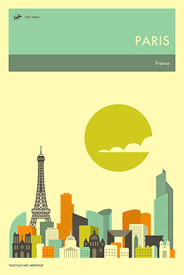 Paris Skyline Digital Art - Paris Travel Poster by Jazzberry Blue