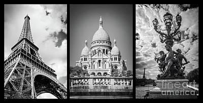 Photograph - Paris Triptych by Delphimages Photo Creations