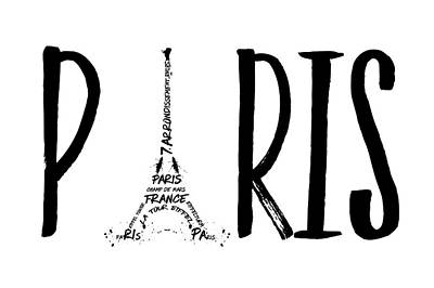 Paris Digital Art - Paris Typography by Melanie Viola