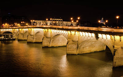 Photograph - Paris View - Bridge At Night by Miguel Winterpacht