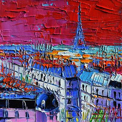 Rooftops Painting - Paris View - Printemps Rooftop Terrace by Mona Edulesco