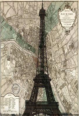 Paris Vintage Map And Eiffel Tower Art Print by Georgia Fowler