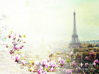 Paris Skyline Royalty-Free and Rights-Managed Images - Paris with Eiffel Tower Postcard by Anastasy Yarmolovich