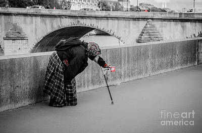 Photograph - Parisian Beggar Lady by Paul Warburton
