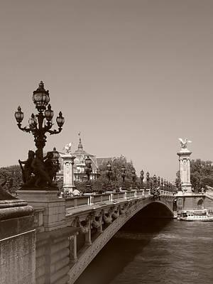 Photograph - Parisian Bridge, Monochrome by Gordon Beck