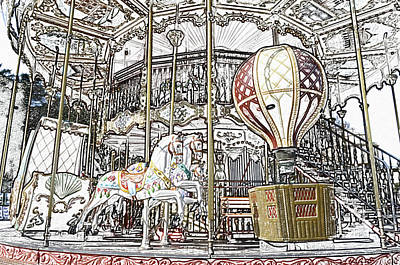 Digital Art - Parisian Carousel Paris France At The Base Of Eiffel Tower Colored Pencil Digital Art by Shawn O'Brien