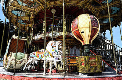 Digital Art - Parisian Carousel Paris France At The Base Of Eiffel Tower Painterly Fresco Digital Art by Shawn O'Brien