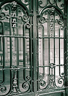 Photograph - Parisian Doors Paris France Fine Art Photograph Black And White Landscape Print  by Tim Hovde