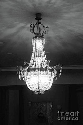 Photograph - Parisian French Chandelier - Opulent Black And White French Chandelier  by Kathy Fornal
