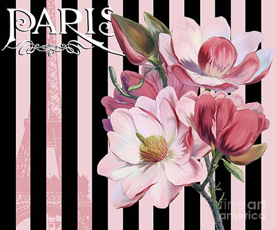 Cosmopolitan Painting - Parisian Pink Magnolias In Stripes, Eiffel Tower France by Tina Lavoie