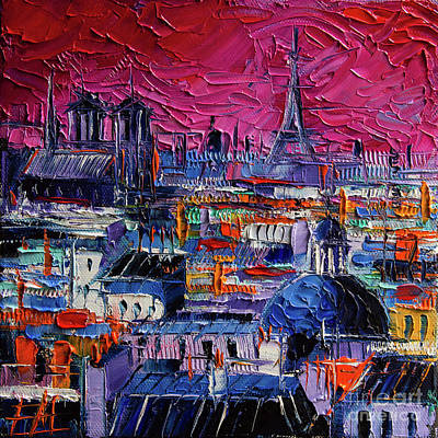 Painting - Parisian Roofs - Modern Impressionist Stylized Cityscape by Mona Edulesco