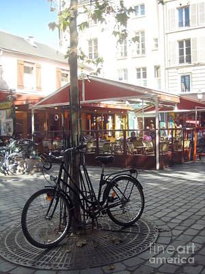 Parisian Bicycle At The Cafe Original