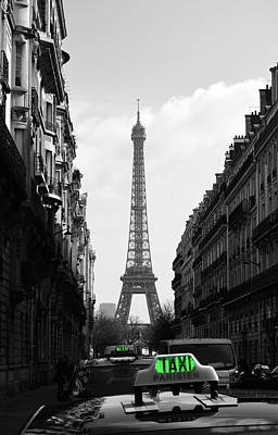 Photograph - Parisian Taxi Cabs And Eiffel Tower Framed By Paris Architecture Color Splash Black And White by Shawn O'Brien