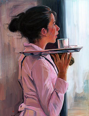 Art Print featuring the painting Parisian Waitress by Lesley Spanos