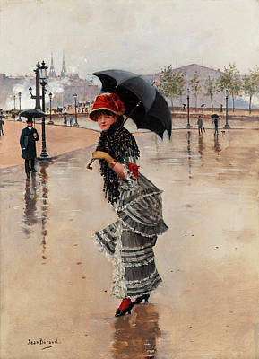 Wet On Wet Painting - Parisienne On A Rainy Day by Jean Beraud