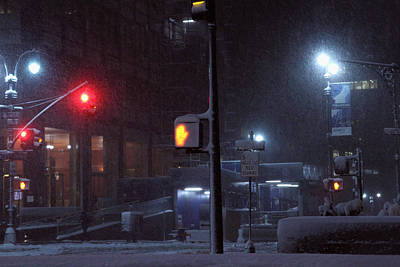 Park Avenue And E46th Street In The Late Night Snow Storm Original by Alexander Winogradoff