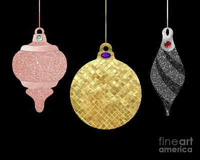 Gold Metal Painting - Park Avenue Luxe Ornaments, Holiday Bling by Tina Lavoie