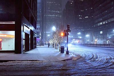 Park Avenue Near Grand Central In The Winter Storm Late Night New York Ny On Feb 08 2013 Original by Alexander Winogradoff