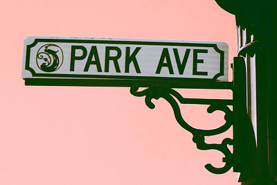 Digital Art - Park Avenue Sign On Pink by Valerie Reeves