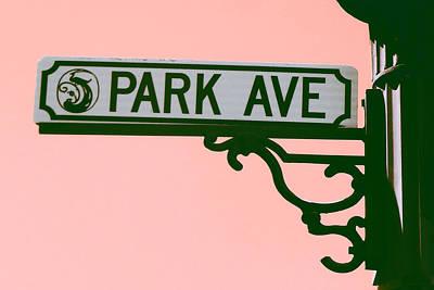 Digital Art - Park Avenue Sign On Pink by Valerie Reeves