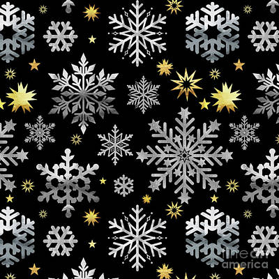 Gold Metal Painting - Park Avenue Silver And Gold Metallic Snowflake Pattern by Tina Lavoie