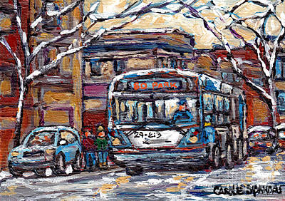 Painting - Park Avenue Winterscene Paintings For Sale All Aboard The 80 Bus Montreal Art For Sale C Spandau     by Carole Spandau
