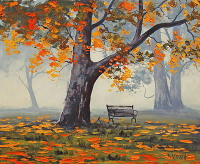 Elm Painting - Park Bech by Graham Gercken
