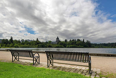 Wall Art - Photograph - Park Bench Along Capitol Lake In Olympia Washington by David Gn
