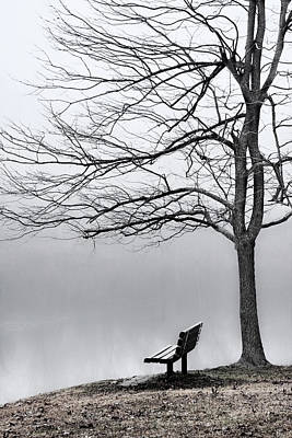 Photograph - Park Bench And Leafless Tree In Fog - Hi-key by Greg Jackson