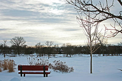 Snowpocalypse Photograph - Park Bench by Angela Siener