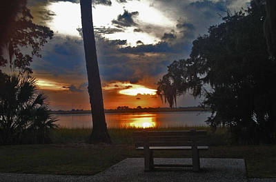 Photograph - Park Bench At Sunset by JoDee Luna