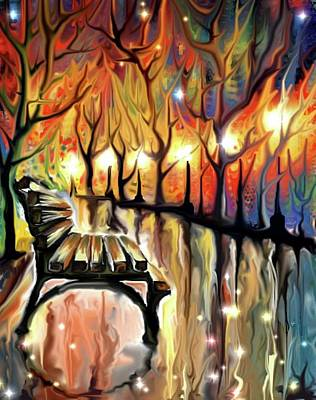 Park Scene Digital Art - Park Bench by Darren Cannell