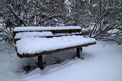 Photograph - Park Bench December Style by Scott Kingery