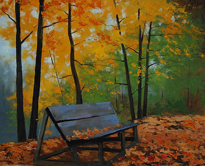 Maple Leaf Art Painting - Park Bench  by Graham Gercken