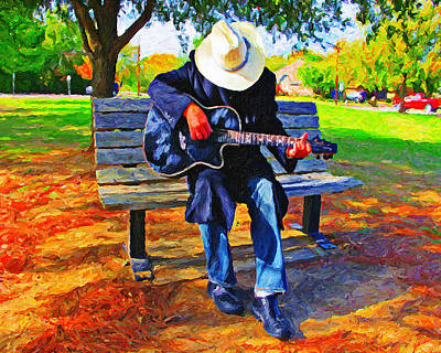 Nashville Park Painting - Park Bench Guitarist by Le Artman
