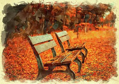 Digital Art - Park Bench In Fall by Ricky Barnard