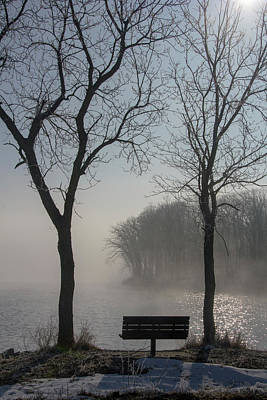 Park Bench In Morning Fog Art Print