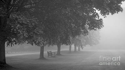 Overhang Photograph - Park Bench In The Mist by Richard Thomas