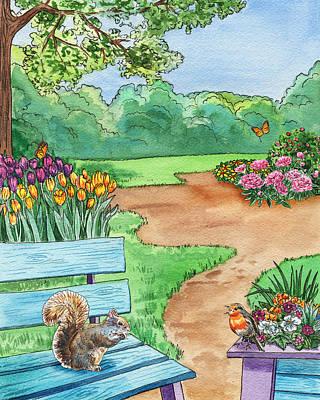 Painting - Park Bench Landscape by Irina Sztukowski
