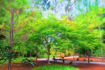 Digital Art - Park  Bench by Louis Ferreira