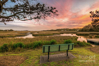 Patriotic Signs - Park Bench Sunset by Matthew Trudeau