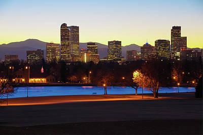 Photograph - Park Bench Under The Denver Colorado Skyline by Gregory Ballos