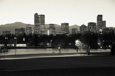 Photograph - Park Bench Under The Denver Colorado Skyline - Sepia by Gregory Ballos