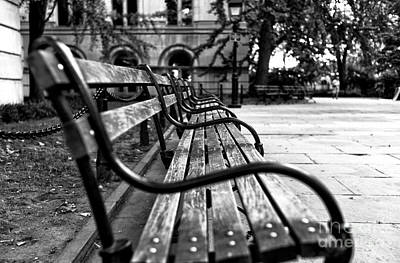 Photograph - Park Bench View Mono by John Rizzuto