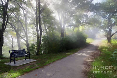 Digital Art - Park Bench With Path Digital Art by Kari Yearous